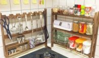 Japanese kitchen. Shelving around the stove to add additional storage space.