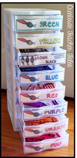 Use labeled bins to organize crayons and markers. I think this is really smart! Repin for later!