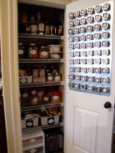 Install a magnetic spice board on your pantry door. Repin if you think this is genius!