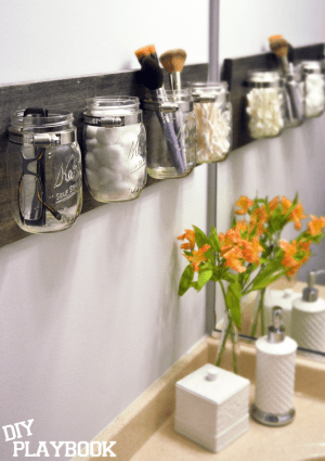 Use mason jars to store your bathroom essentials.