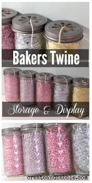 Use mason jars to store your craft twine and yarn.