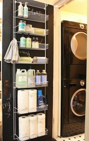 Use an behind the door shelf to store your cleaning supplies in your laundry room. Repin!