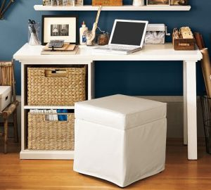 To add more storage space in a small dorm room, you can use an ottoman as a chair as well as to store your other items. Repin for later!