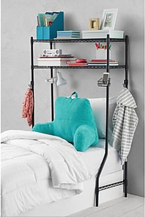 Maximize as much space as you can by using an over-the-bed storage rack. Perfect for dorm rooms. Repin!