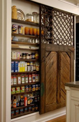 Love the barnyard door on this pantry. This pantry was built in between the wall studs in her kitchen.