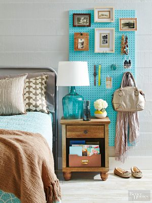 Use pegboard in your room to organize your bedside items and save space. Repin!