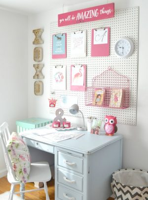 Install a pegboard behind your girl's computer desk for additional storage space.