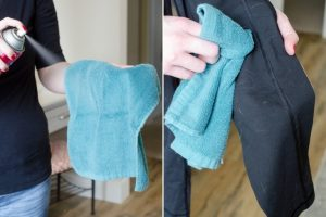 Spray a towel with hairspray and let dry. Rub cloth over clothes and furniture to get rid of lint and pet hair. Love this hairspray hack!
