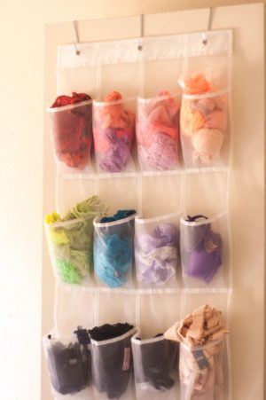 Use a shoe organizer to store your undies and save space. Repin!