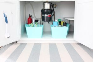 Bins for organizing under the sink.