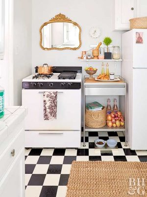 Create counter space in a small kitchen by adding a storage shelf.
