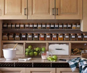 Install shelving underneath your kitchen cabinets for spice storage. Repin if you think this is brilliant!