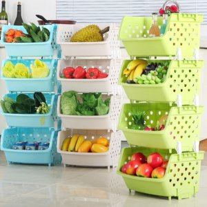 Use stackable bins to store fruit and veggies on your kitchen countertop.