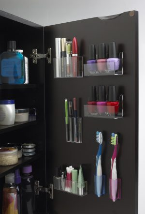 Use stick on pods to organize your makeup on the inside of your cabinet doors. Repin if you think this is a great idea!