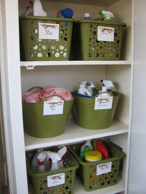 Use dollar store baskets to store your cleaning supplies in your utility closet. Repin if you want to try this in your home!