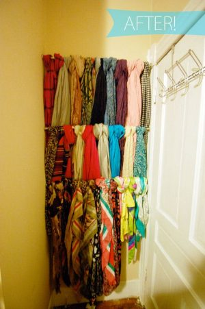 Use tension rods in an unused corner of your room to organize your scarves.