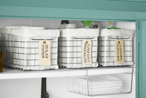 Use Labeled Wire Bins To Store Your Essentials In Your Linen Closet. Repin  If You