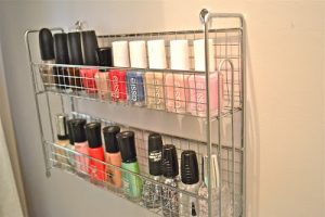 Use a dollar store wire basket to organize nail polish or makeup in the bathroom. Repin if you love this idea!