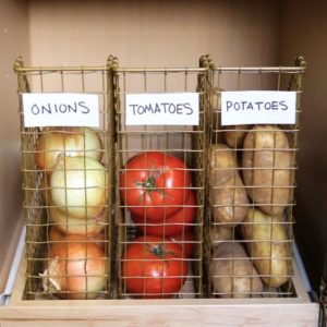 Use magazine holders to store fruits and vegetables in your kitchen cabinets or pantry. & 15 Genius DIY Fruit and Vegetable Storage Ideas for Tiny Kitchens ...