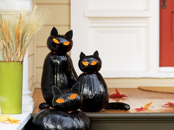 Scary kitty jack-o-lanterns! How cool are these! So, ready for Halloween!