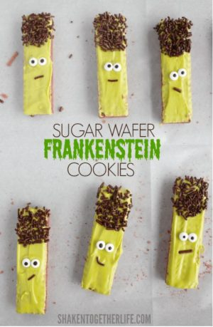 Halloween food idea- Frankenstein Wafer Cookies