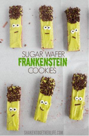 Halloween food idea- Frankenstein Wafer Cookies