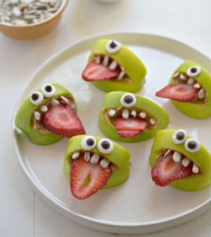 Halloween snack ideas- Apple monsters!
