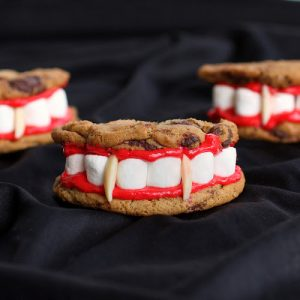 Halloween food idea- dracula denture cookies