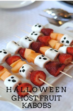 Halloween food idea- Ghost Kabobs!