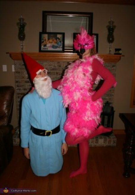 Garden gnome and flamingo lawn ornaments Halloween costume! So cute!
