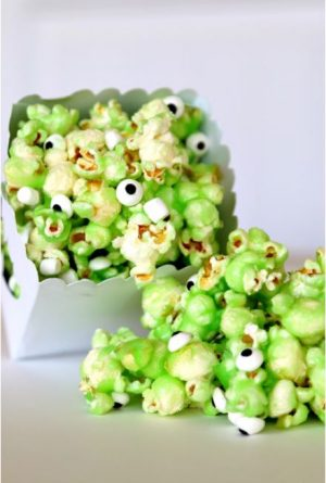 Halloween food idea- Monster Slime Popcorn!