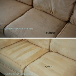 Rubbing alcohol, a brush and sponge is all you need to clean your microfiber couch.