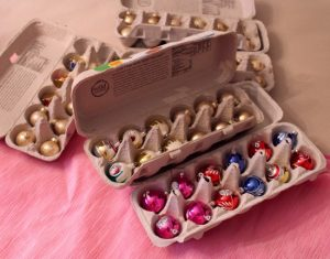 Store your Christmas ornaments in an egg carton to keep them protected while in storage.