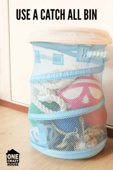 Place a catch all bin your rooms to store clutter until you can put it away.