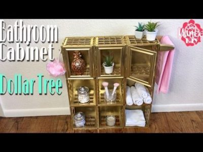 Make a bathroom cabinet using dollar store crates.