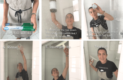 Clean soap scrum from your shower doors with aluminum foil