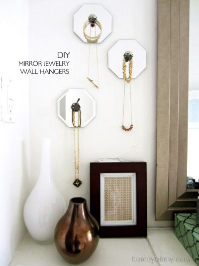 Hang your jewelry up on the wall for diy wall decor.