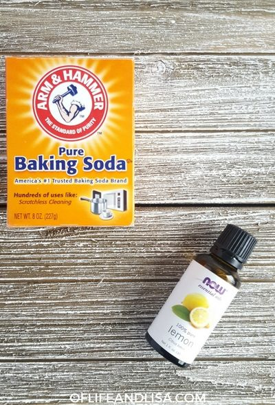 Homemade Toilet Bowl Cleaner made with all-natural ingredients such as Baking Soda, Lemon Essential Oil and Castile Soap.
