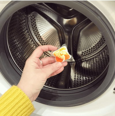 Place a dishwasher tab in your washing machine to freshen it up.