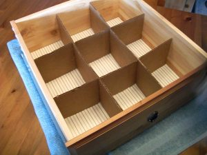 Make your own drawer dividers to organizer your socks and undies.