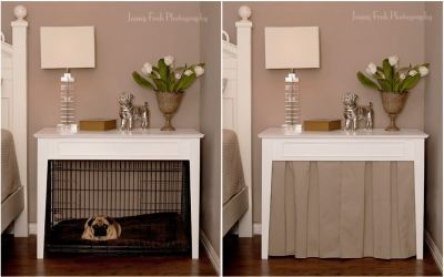 Love this idea of hiding the dog crate with a small curtain under the table. Looks very stylish!