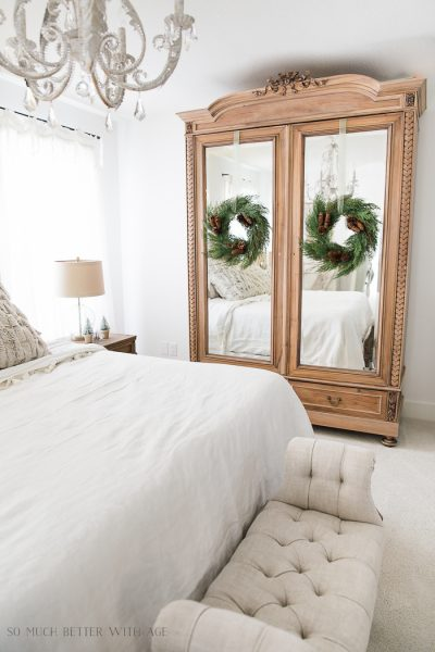 Love this idea of the armoire in the bedroom!