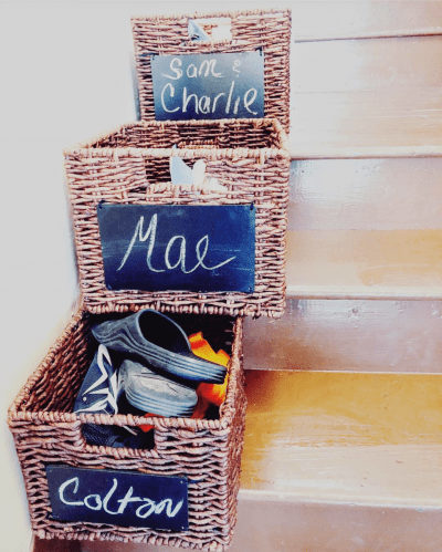 Keep labeled bins of your familys items on the stairs. Use this to store the things that they leave around the house so that they can take it to their rooms at the end of the day.