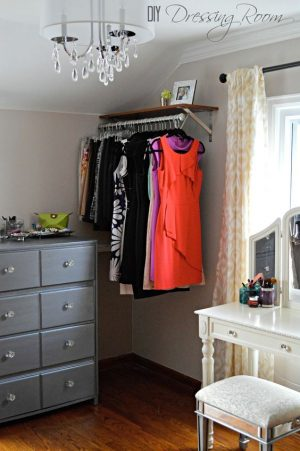 If you run out of closet space, an unused corner of your bedroom works wonderfully to store extra clothes and shoes.