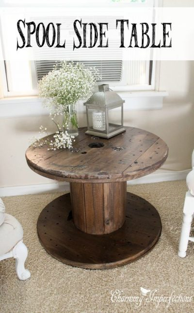 Turn a spool into a side table. I seriously love this idea omg!