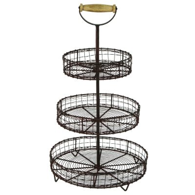 This wire basket stand is perfect for holding fruit or creating a farmhouse vignetter in the kitchen or living room.