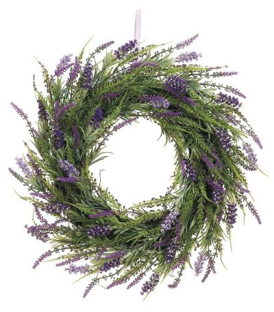 A lavender wreath will perfectly compliment your farmhouse decor setting.