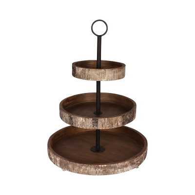 Thie birch wood tiered tray would greatly compliment a farmhouse styled vignette.