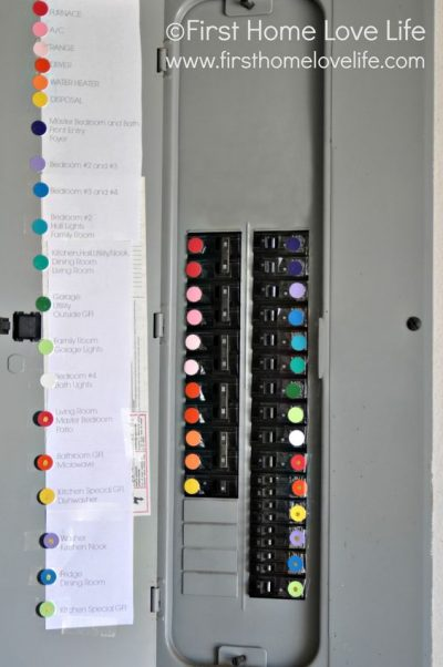 It would be wise to color code your circuit breaker switches to make them easy to identify.