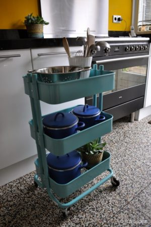rolling cart storage idea - 10 Best House Cleaning Tips for Seniors That'll Make Life Easier